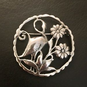 Sterling Vintage Mid-Century (1950's) Flamingo Pin
